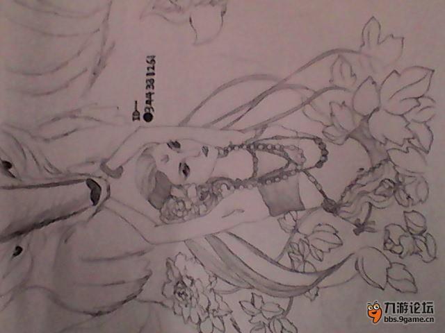 素描简单可爱九尾狐简笔画