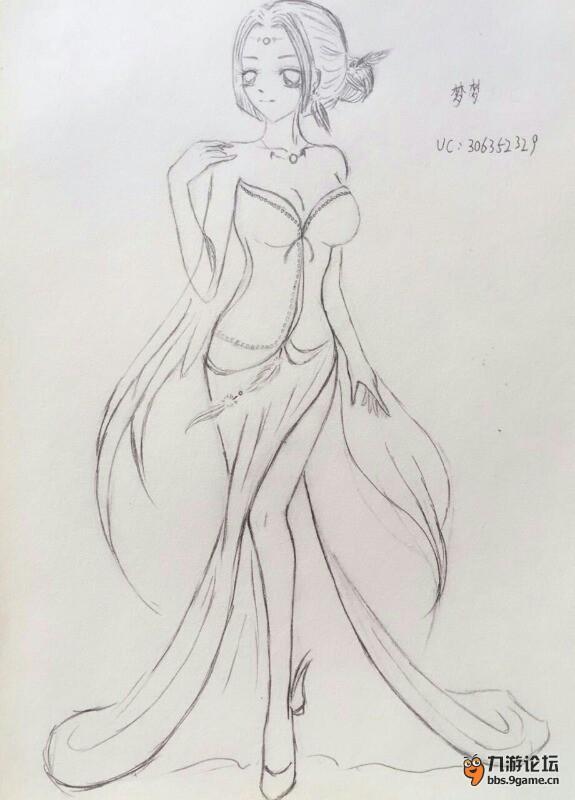 【时装绘图】+水星蓝晚礼服