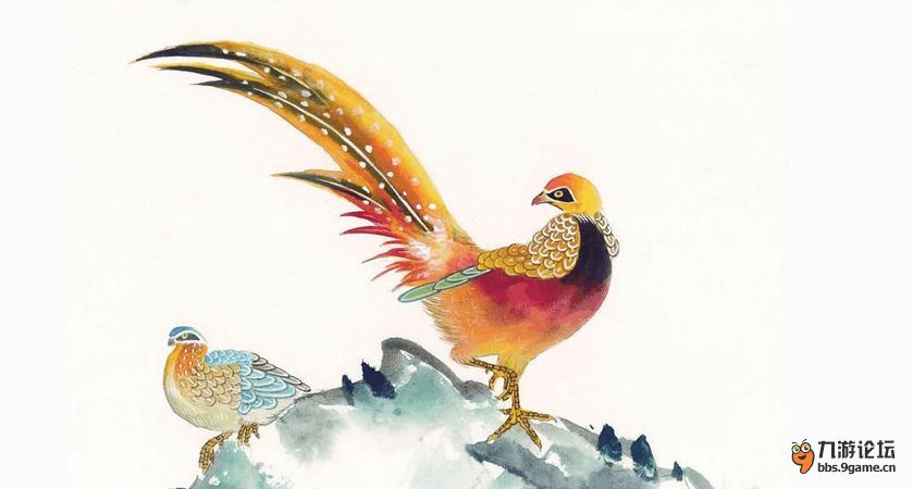 壁纸 动物 国画 鸡 鸟 鸟类 雀 839_450